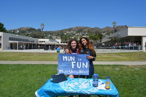 Shira Zaid and Isabelle Mercado promoting their debate club!  Photo by: Hailey Cox