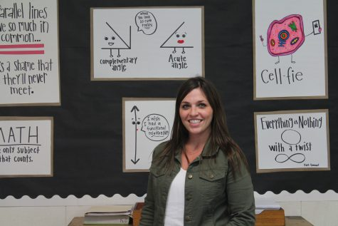 """Parisi, room 133, shows her """"Wall of Puns"""", a helpful learning graphic for her students."""
