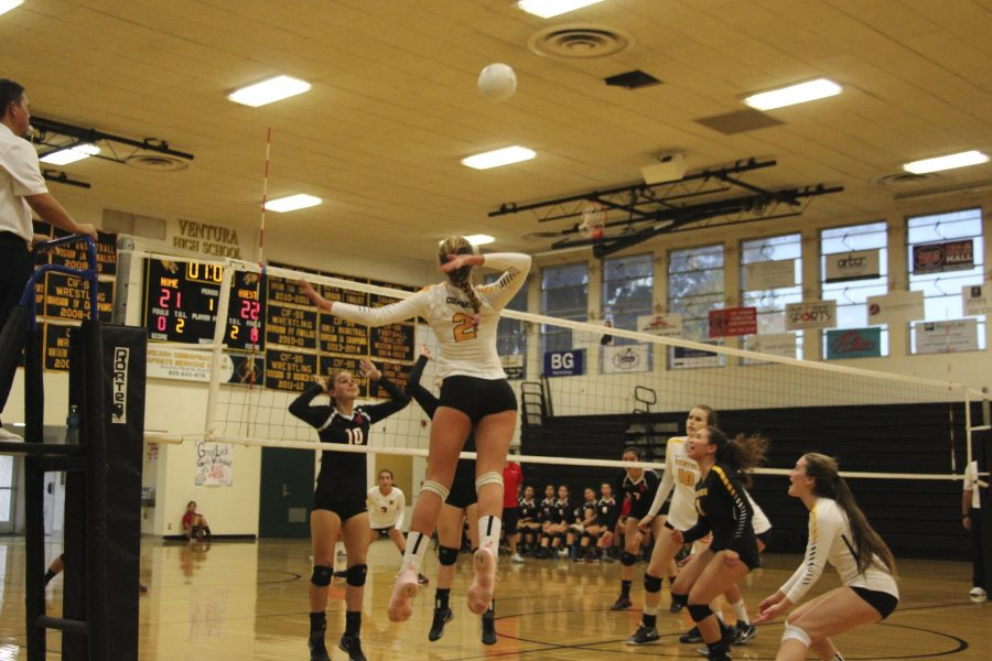 Sinclair jumping up for a spike on Rio Mesa. Photo By: Summer Yovanno