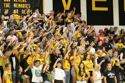 VHS's spirit section points to the score board after BHS yelled 'scoreboard' when obtaining a lead Photo by: Brooke Newman