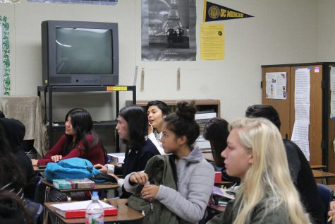 The AVID students broke off into groups for peer tutoring. Photo by: Hannah Lee