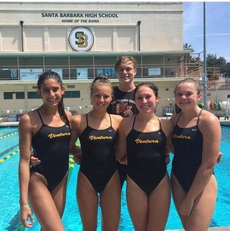 (Pictured left to right) Sophomore Charlotte Allison, junior Paige White, senior Clayton Currie and Amy Elsenbaumer and 2017 VHS graduate Kelsi Dugas were on last years dive team.