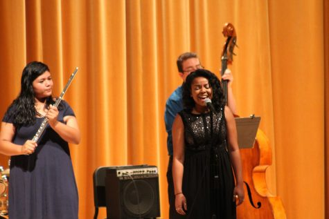 The Studio Jazz Ensemble plays Afro Blue with Mikayla Williams singing. Photo by: Sarah Clench