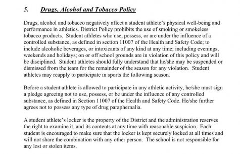 This is the form addressing drug and alcohol use that is part of the athletic clearance packet given to all VHS athletes.  Infographic from: VUSD