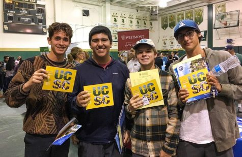 (From left to right) Junior Joey Stutes, senior Alex Rangel, junior Cole Stender, and junior Jake Grajeda all attended the college fair and checked out the UC Santa Cruz booth. Photo by: Ryan King