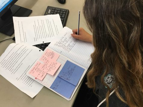 Junior Delaney Valdez hard at work to finish her homework for the day! Photo by: Avenlea Russian