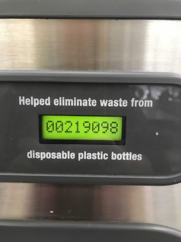 The hydration station in the cafeteria has already helped eliminate the use of 219098 plastic water bottles and more on campus could definitely help VHS be an environmentally greener campus. Photo by: Brooke Newman