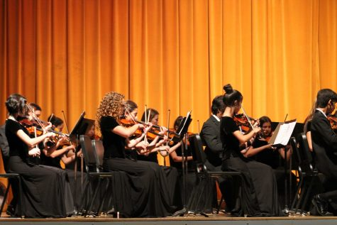 """String Orchestra during their performance of Passacaglia from String Quartet No. 10"""" by Dmitri Shostakovich."""