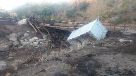 Bridge in Carpinteria devastated by the mudslides. Photo by: Christian Caudillo