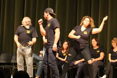 (from left to right) Reich, Weber, and Hazan perform as a band during Movie Critics, where two others control the actions in the scene. Photo by: Avenlea Russian