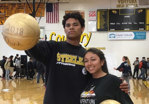 The winners of the dunk contest are both student athletes at VHS graduating this school year. Photo by: Avenlea Russian