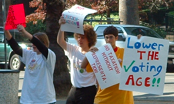 Members of National Youth Rights Association Berkeley, California protesting to lower the voting age in 2004. Photo By: NYRA