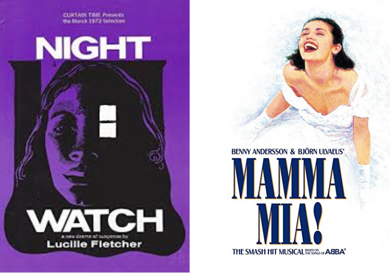 Posters from the original production of Nightwatch and the Broadway production of Mamma Mia.