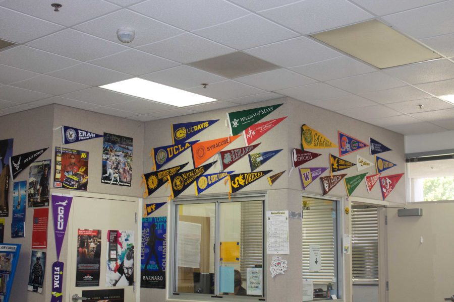 Inside the VHS Career Center where colleges present. Photo by: Brooklyn Ross