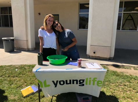 Senior Maddie Halstead and her Younglife leader Marissa Chavira promoting Younglife and the upcoming annual Dodgeball Tournament the club puts on. Photo by: Janelle Chavira