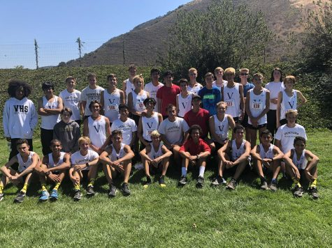 The boys cross country team keeping cool in hot weather. Photo by: Tyree Cruz