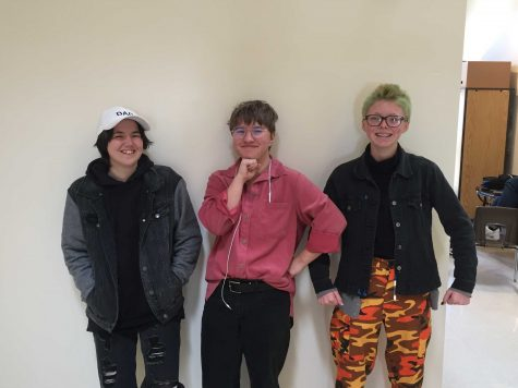Transgender students, senior Alexander Crimes (left) and juniors Max Bolle (center) and Noah Tallent (right) use their clothing and mannerisms to express their gender identity. Photo by: Miles Bennett