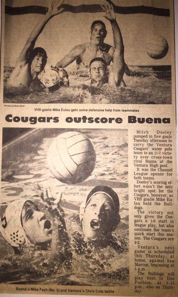 Great article detailing Ventura Water Polo teams victory over Beuna High Schools team and this articles subject Mitch Dooleys scoring of five goals in the game. Photo by David Jaffe