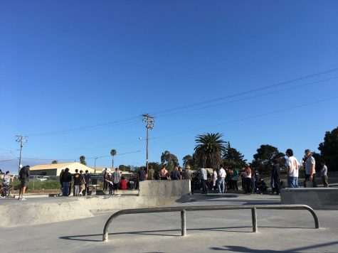 Local skaters come together on Tues. April 16 to discuss and push for an expansion to Ventura's West side skate park. Photo by: Malik Hibbler
