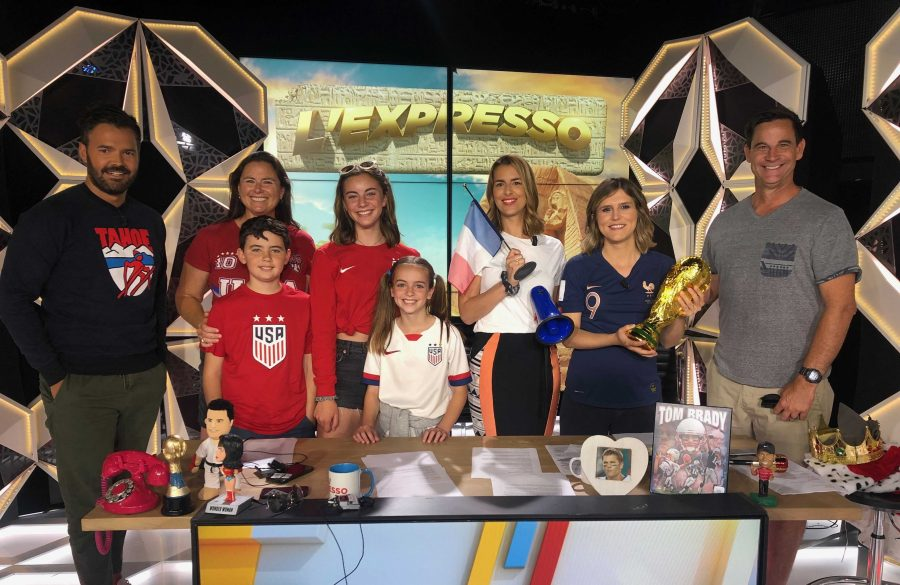 Sophomore Avery Kightlinger and her family excited to prepare on set before filming a segment on BeIN Sports. Photo from: Avery Kightlinger