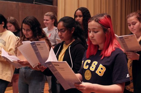 From right to left, freshmen Sinthia Cardenas, Arkiran Khiara, and Vanessa Mercado practicing the alto part of