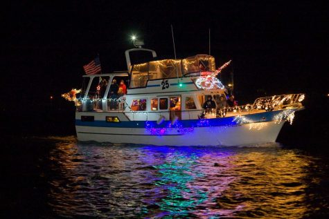 A yacht in the Ventura Harbor decorated for the Parade of Lights. Photo by: Ventura Harbor