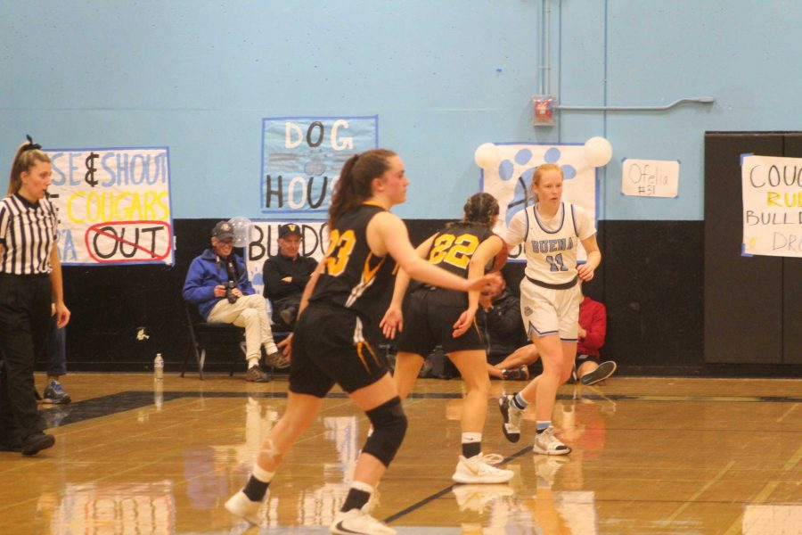 Sophomores Tiernan Philips (number 23) and Alexis Howery (number 22) on defense against Buena. Photo by: Jocelyn Lee