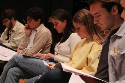 (Left to right) Junior Jay Reynolds, sophomores Joseph Lombardo, Alina Reitz, senior Daniel Metten and freshman Mya Sherman read through the script for the very first time. Photo by: Miles Bennett