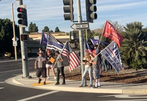 MAGA protesters at the Ventura County Government Center. Supporters rally with Trump flags, Blue Lives Matter flags, and Don't Tread On Me flags. Photo by: Elise Sisk.