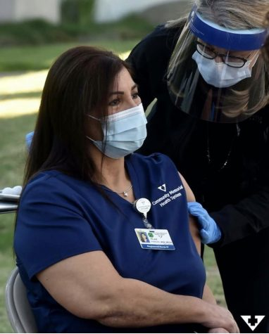 Pilar Parker, an RN from Ventura County, was one of the first people in the county to receive the COVID-19 vaccine. Photo from: Community Memorial Hospital Instagram page, @cmhshealth