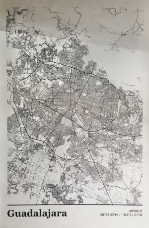 This map depicts the many town areas in the city of Guadalajara. According to the World Population Review about 5,179,479 people inhabit Guadalajara. Photo by: Alexis Mendoza