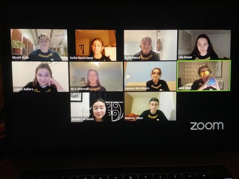 The Zoomprov cast in all its glory. (Top row left to right; junior Wyatt Mojo, Senior Sofia Mastroianni, senior Kylie Pence, sophomore Lilia Duque; middle row left to right; senior Jaidyn Sellers, junior Mya Sherman, senior Samantha Hirschhorn, senior Jack Zilles; bottom row left to right; sophomore Sinthia Cardenas, senior Ramsey Dillon). Photo by: Yasmin Myers