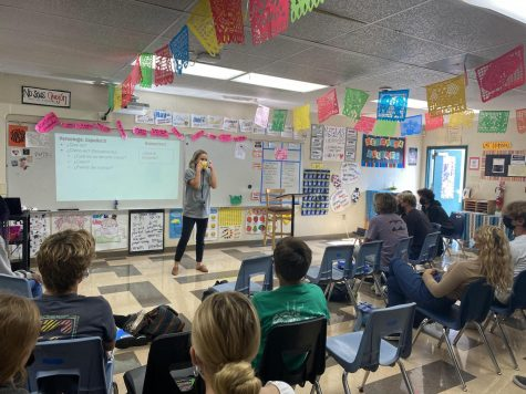 """Senorita Ellberg teaching her Spanish two class. """"Every class is memorable. There is something that I can remember from each period I have ever taught. Photo by Brody Daw"""
