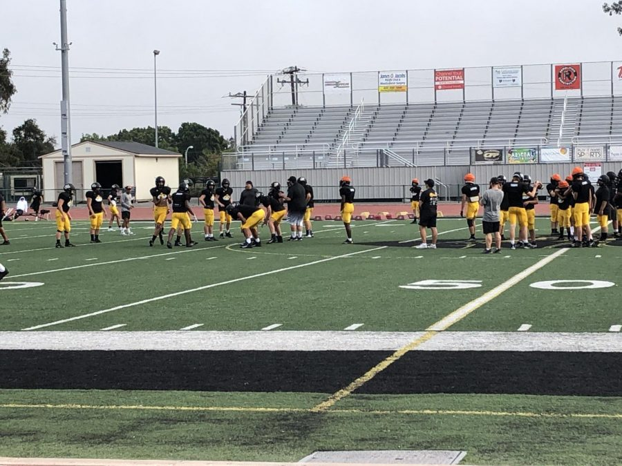 Ventura Highs football team practices in preparation for their 1st home game of 2021. Picture by: Isabella Fierros
