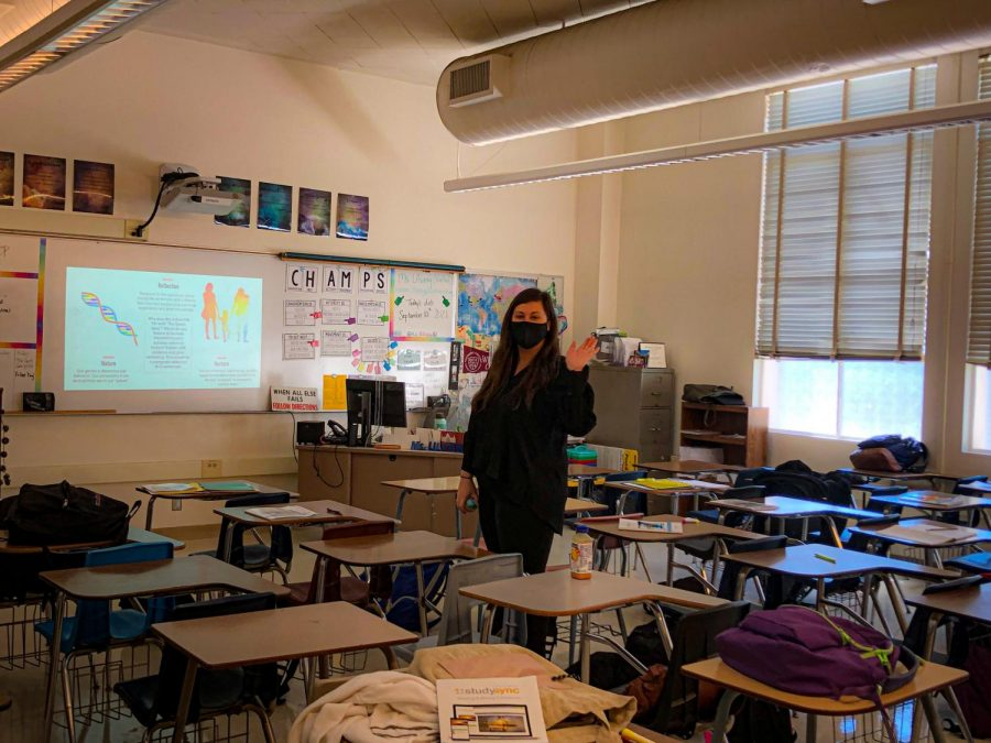 Ms. Ulvang welcoming her students in her classroom. Photo by: Adi DeClerck