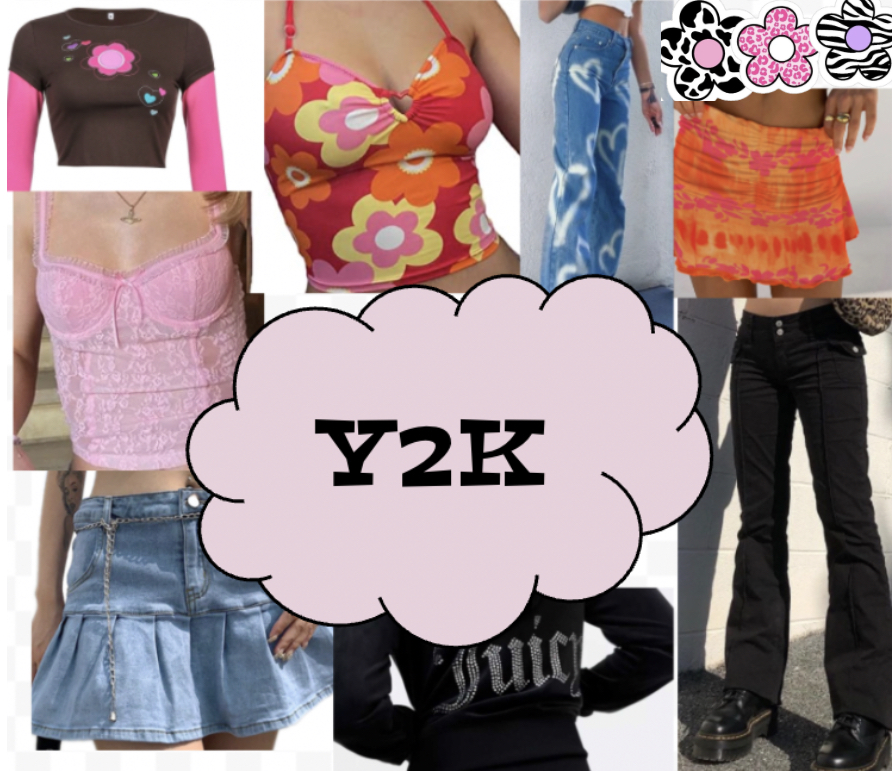 Baby tees, lingerie tops, low rise jeans and jean skirts are currently some of the most popular Y2K trends. Graphic by: Ava Mohor