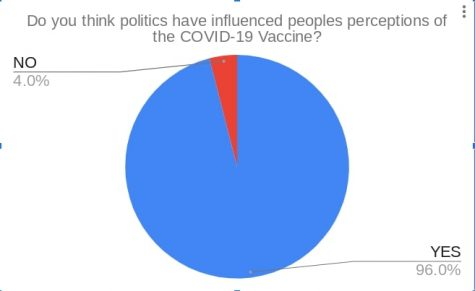 When VHS students were asked if they believed peoples perceptions were altered because of politics 96% of students responded yes. While 4% answered no, the poll put up on The Cougar Presss Instagram. Graphic by Brody Daw