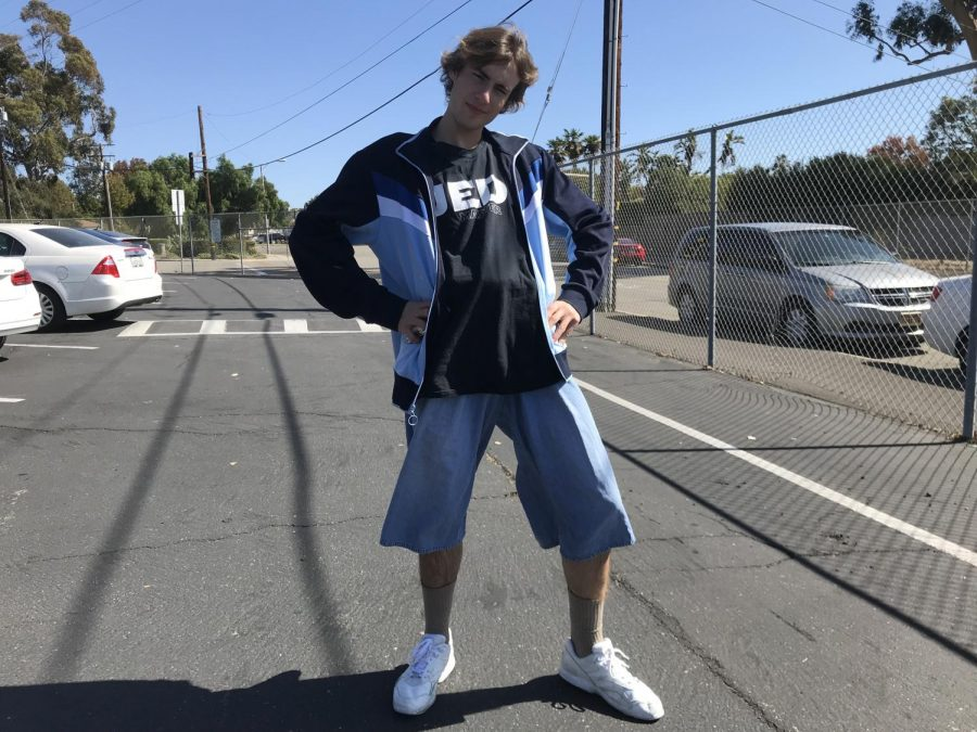 Pictured here is senior cougar citizen Jack Connell sporting shin length jorts for Adam Sandler day. This spirit day is apart of VHS spirit week for the Buena vs. Ventura football game. Photo by: Belen Hibbler