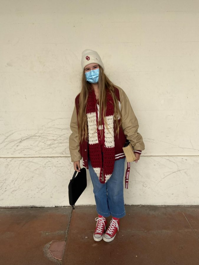 Junior Montana Wiggins was decked out in Oklahoma Sooners gear with colors red and white from head to toe.
